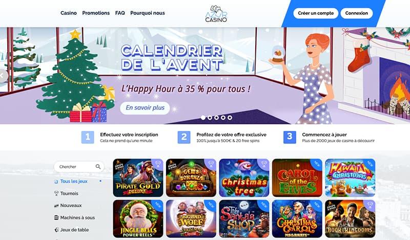 Capture d'écran azur casino interface