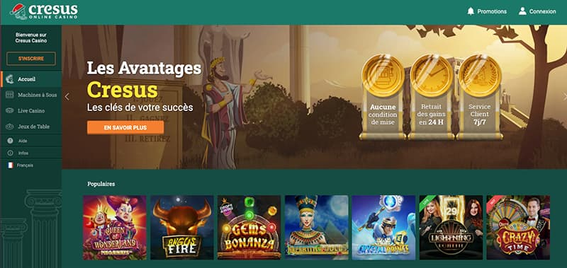 cresus casino interface screenshot