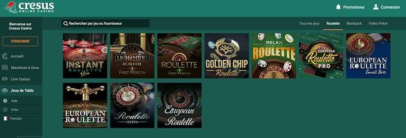 cresus casino jouer roulette screenshot