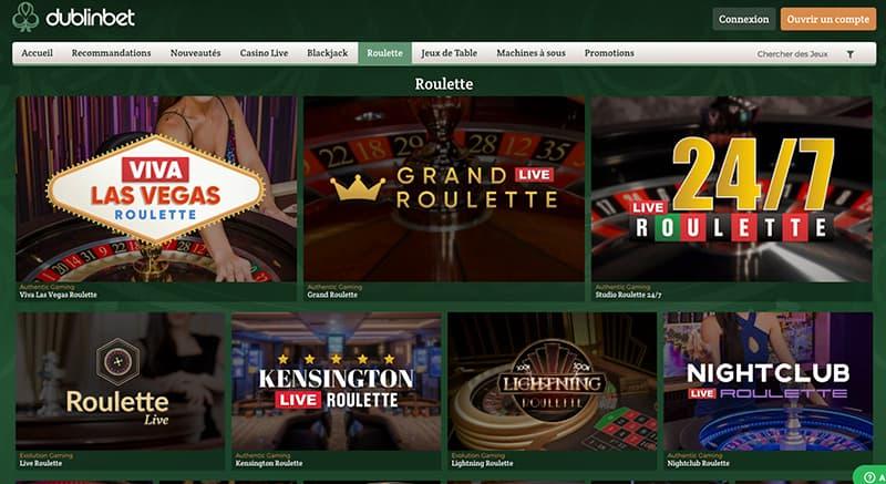 Capture d'écran dublinbet roulette