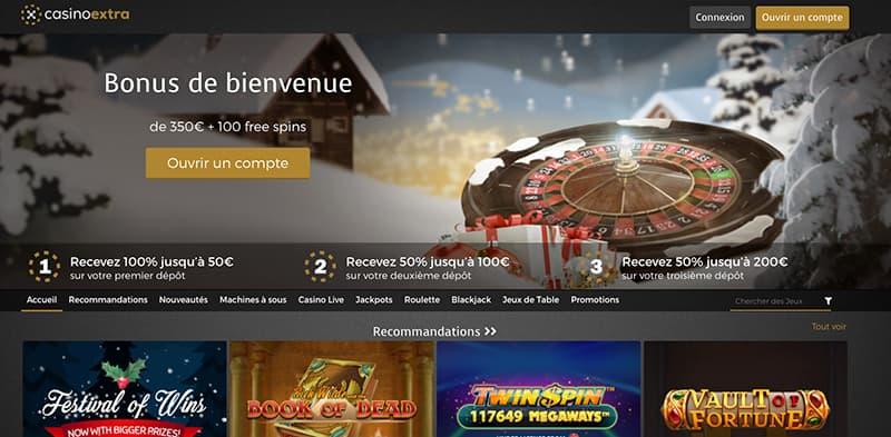 Capture d'écran casino extra interface