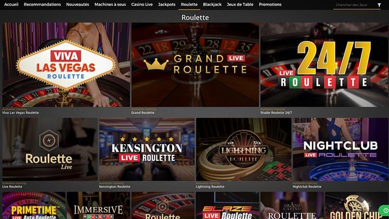 Capture d'écran casino extra roulette
