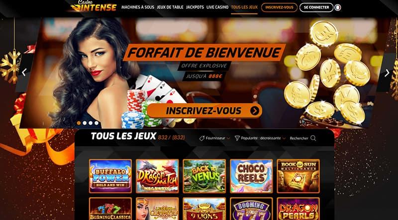 Capture d'écran Casino intense interface