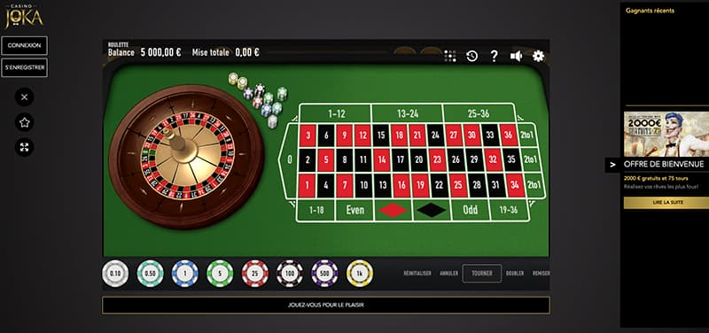Capture d'écran Joka Casino roulette