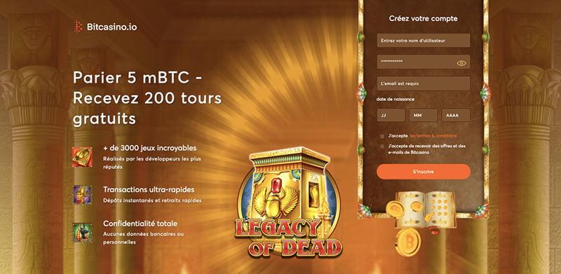 bitcasino interface inscrire